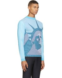 KENZO Blue Knit Statue Of Liberty Sweater for men