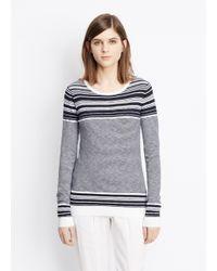 Vince Black Striped Slub Cotton Crew Neck Sweater