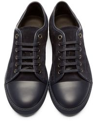 Lanvin - Blue Navy Suede & Leather Tennis Sneakers - Lyst