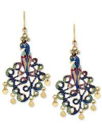 Betsey Johnson | Metallic Gold-tone Peacock Drop Earrings | Lyst