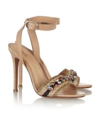 Schutz Natural Embellished Woven Raffia And Leather Sandals