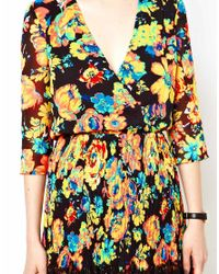 ASOS Multicolor Skater Dress With Pleat And Print
