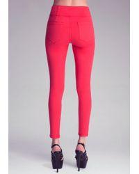 Bebe Red High Waist Skinny Jeans