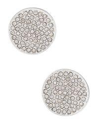 Lauren by Ralph Lauren - Metallic Pave Disk Stud Earrings - Lyst