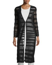 Misook - Brown Long Striped Sheer Duster - Lyst