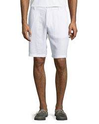 Neiman Marcus - White Fixed-waist Linen Shorts for Men - Lyst