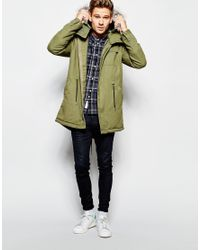 Native Youth Green Parka With Faux Fur Hood for men