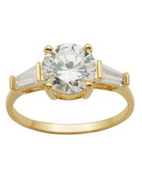 Lord & Taylor Metallic 18kt Gold Over Sterling Silver And Cubic Zirconia Three Stone Ring