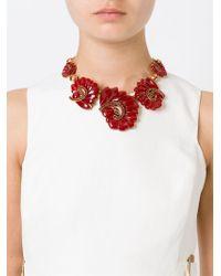 Oscar de la Renta - Metallic Cascading Flower Necklace - Lyst