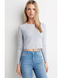 Forever 21 | Blue Ribbed Crop Top | Lyst