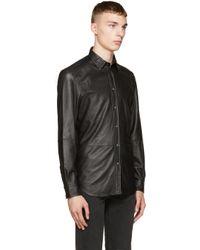 DIESEL Black Leather Shirt for men