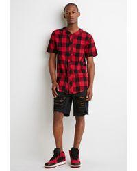 Forever 21 - Red Buffalo Plaid Baseball Shirt for Men - Lyst