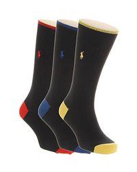 Ralph Lauren   Black Polo 3 Pack Socks for Men   Lyst