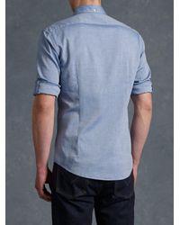 John Varvatos - Blue Oxford Peace Sign Button Up for Men - Lyst