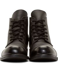 Yohji Yamamoto - Black Leather Cropped Combat Boots for Men - Lyst