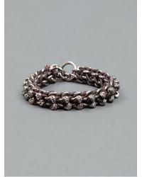 Tobias Wistisen Black Skull Braided Bracelet for men