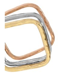 Adina Reyter - Metallic Square Stack White, Yellow And Rose Gold Rings - Lyst