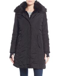 Nanette Lepore | Black Faux Fur Lined Quilted Coat | Lyst