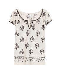 Velvet By Graham & Spencer | Black Roseanne Printed Silk and Cotton Blend Top | Lyst