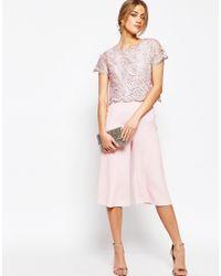 Warehouse Pink Lace Culotte Jumpsuit