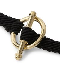 Yuvi Black 14karat Yellow Gold and Woven Cord Bracelet for men