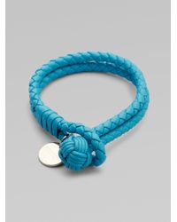 Bottega Veneta | Blue Woven Leather Bracelet | Lyst