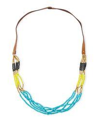 Panacea | Blue Colorblock Multi-strand Beaded Necklace | Lyst