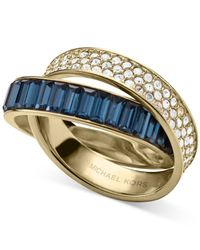 Michael Kors | Blue Gold-tone Montana Baguettes Clear Pavé Crossover Ring | Lyst