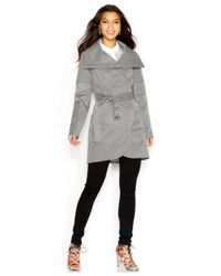 BCBGeneration - White Quilted-Detail Belted Trench Coat - Lyst