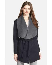 SOIA & KYO Blue Double Face Wool Blend Wrap Coat