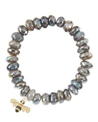 Sydney Evan | Metallic 10Mm Mystic Labradorite Beaded Bracelet With 14K Gold/Diamond Small Bee Charm (Made To Order) | Lyst