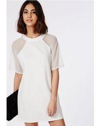 Missguided | White Mesh Shoulder T-shirt Dress Ivory | Lyst