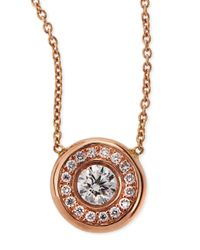 Roberto Coin | Pink 18k White Gold Pave Diamond Pendant Necklace | Lyst