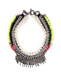 Venna | Multicolor Crystal Fringe Pearl Spikes Necklace | Lyst