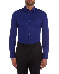 HUGO | Blue Elisha01 Slim Fit Plain Poplin Shirt for Men | Lyst