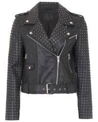 French Connection Black Chaos Leather Biker Jacket