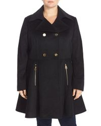 Laundry by Shelli Segal | Black Double Breasted Skirted Wool Blend Coat | Lyst