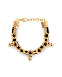 Alexander McQueen | Metallic Leather And Skull Embellish Chain Bracelet | Lyst