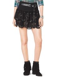 MICHAEL Michael Kors Black Studded Tiered Eyelet Skirt