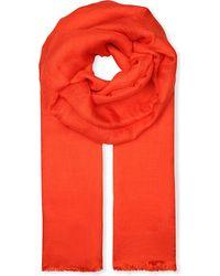 'S Max Mara Orange Fringed Linen-Silk Scarf - For Women