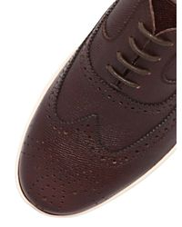 Ferragamo Brown Marlow Embossed Leather Brogue Shoes for men
