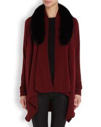Alice + Olivia Red Henri Burgundy Fur Trimmed Wool Blend Cardigan