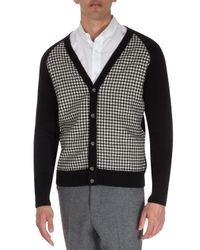 AMI - Black V-Neck Houndstooth Cardigan for Men - Lyst
