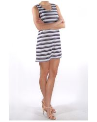 Harvey Faircloth - Blue Stripe Mini Dress - Lyst