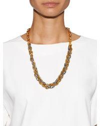 Diane von Furstenberg | Metallic Hematite Crystal-embellished Plaited Chain Neckace | Lyst