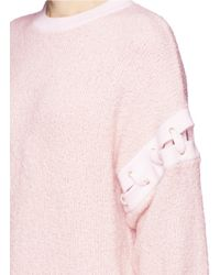 Chloé Pink Cashmere-wool Eyelet Lace Up Bouclette Sweater