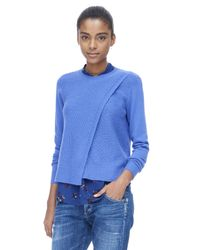 Rebecca Taylor Blue Mesh Crossover Pullover