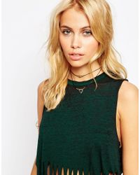 ASOS | Black Fine Double Row Choker Necklace | Lyst