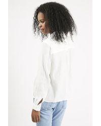 TOPSHOP - White Casual Drape Blouse - Lyst