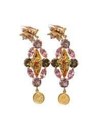 Dolce & Gabbana - Metallic Goldplated Embellished Earrings - Lyst